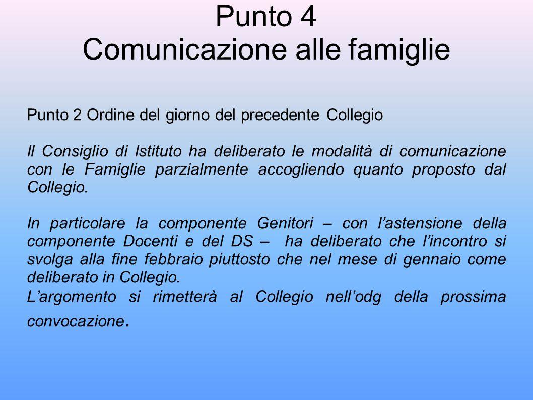 Punto 4 Comunicazione alle famiglie Punto 2 Ordine del giorno del precedente Collegio Il Consiglio di Istituto ha deliberato le modalità di comunicazione con le Famiglie parzialmente accogliendo quanto proposto dal Collegio.