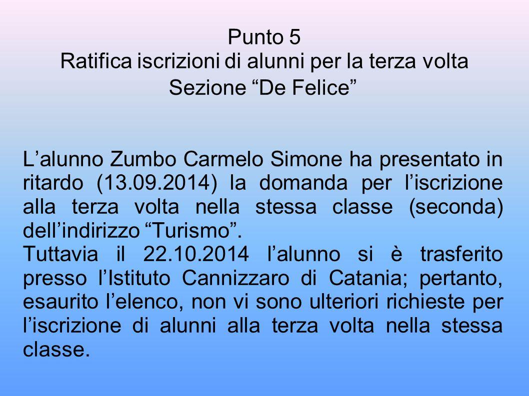 Punto 5 Ratifica iscrizioni di alunni per la terza volta Sezione De Felice L'alunno Zumbo Carmelo Simone ha presentato in ritardo (13.09.2014) la domanda per l'iscrizione alla terza volta nella stessa classe (seconda) dell'indirizzo Turismo .