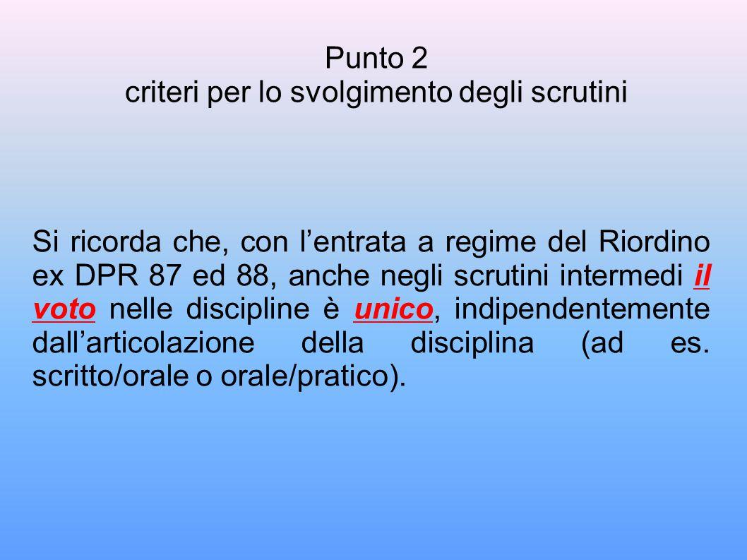 Si ricorda che, con l'entrata a regime del Riordino ex DPR 87 ed 88, anche negli scrutini intermedi il voto nelle discipline è unico, indipendentemente dall'articolazione della disciplina (ad es.