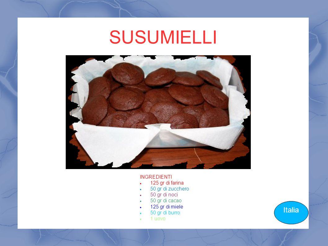SUSUMIELLI Italia INGREDIENTI 125 gr di farina 50 gr di zucchero 50 gr di noci 50 gr di cacao 125 gr di miele 50 gr di burro 1 uovo