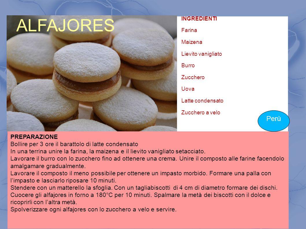 ALFAJORES INGREDIENTI Farina Maizena Lievito vanigliato Burro Zucchero Uova Latte condensato Zucchero a velo PREPARAZIONE Bollire per 3 ore il baratto