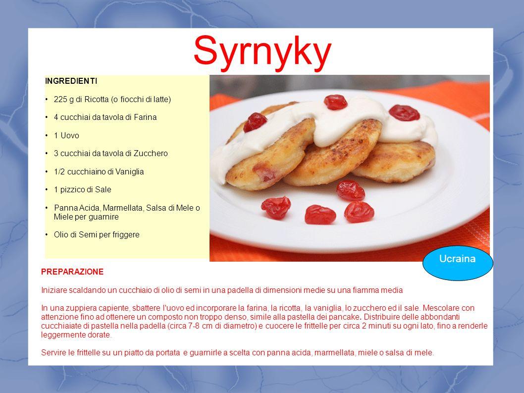 Syrnyky Ucraina INGREDIENTI 225 g di Ricotta (o fiocchi di latte) 4 cucchiai da tavola di Farina 1 Uovo 3 cucchiai da tavola di Zucchero 1/2 cucchiain