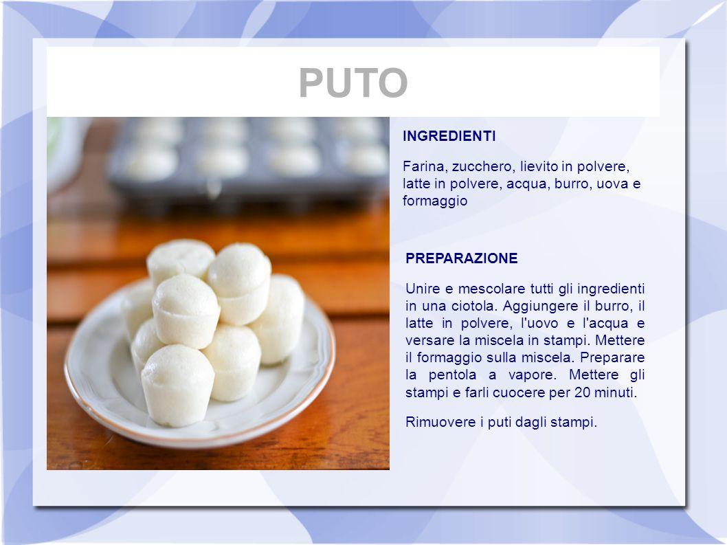 INGREDIENTI Farina, zucchero, lievito in polvere, latte in polvere, acqua, burro, uova e formaggio PREPARAZIONE Unire e mescolare tutti gli ingredient
