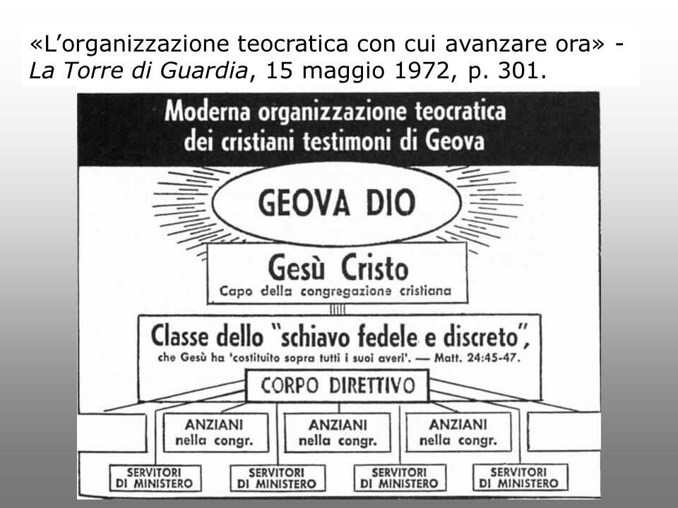 «L'organizzazione teocratica con cui avanzare ora» - La Torre di Guardia, 15 maggio 1972, p. 301.