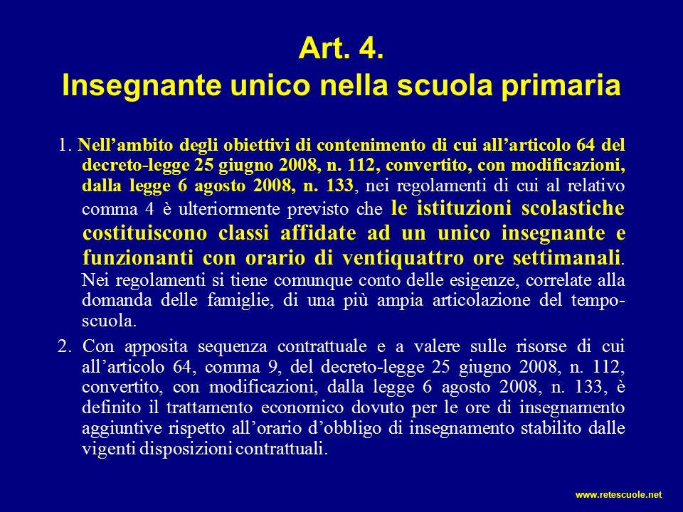 Art. 4. Insegnante unico nella scuola primaria 1. Nell'ambito degli obiettivi di contenimento di cui all'articolo 64 del decreto-legge 25 giugno 2008,