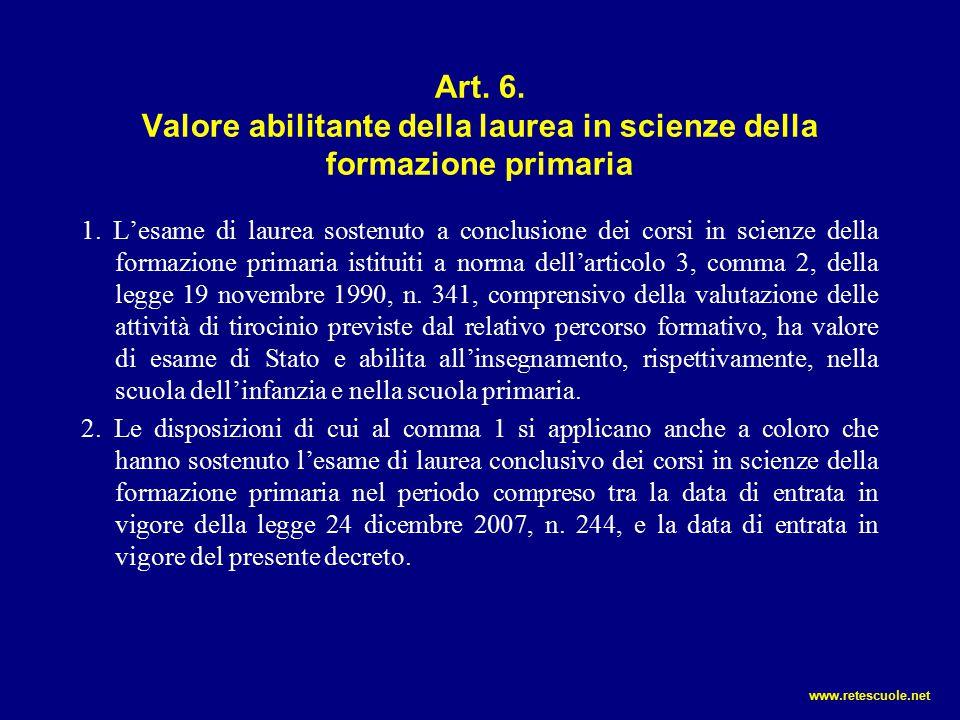 Art. 6. Valore abilitante della laurea in scienze della formazione primaria 1. L'esame di laurea sostenuto a conclusione dei corsi in scienze della fo