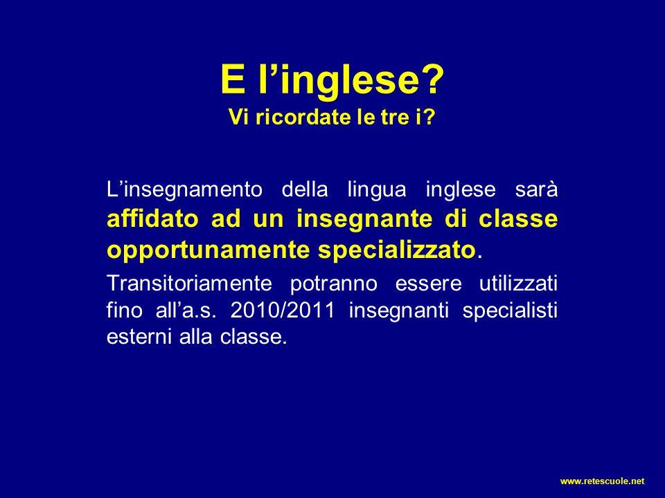 E l'inglese? Vi ricordate le tre i? L'insegnamento della lingua inglese sarà affidato ad un insegnante di classe opportunamente specializzato. Transit