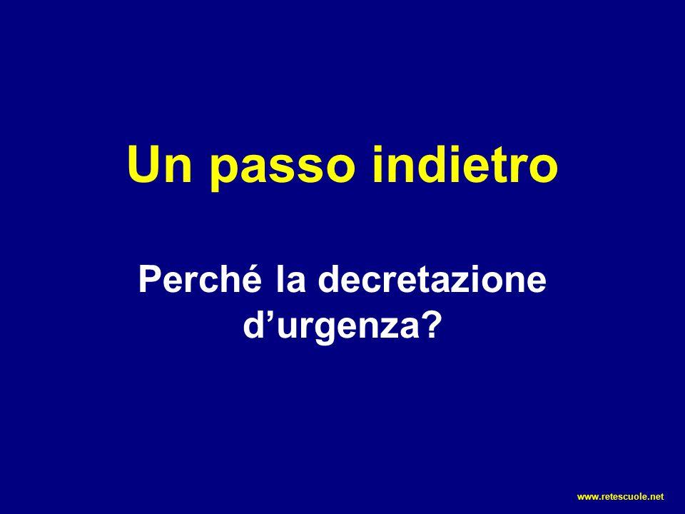 Un passo indietro Perché la decretazione d'urgenza? www.retescuole.net