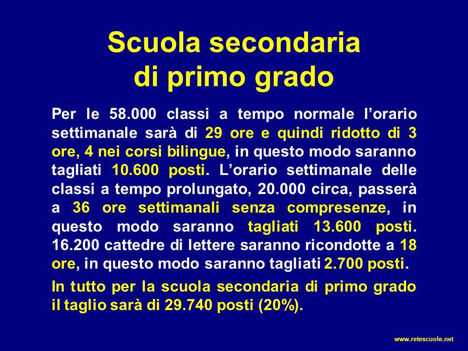 Scuola secondaria di primo grado Per le 58.000 classi a tempo normale l'orario settimanale sarà di 29 ore e quindi ridotto di 3 ore, 4 nei corsi bilin