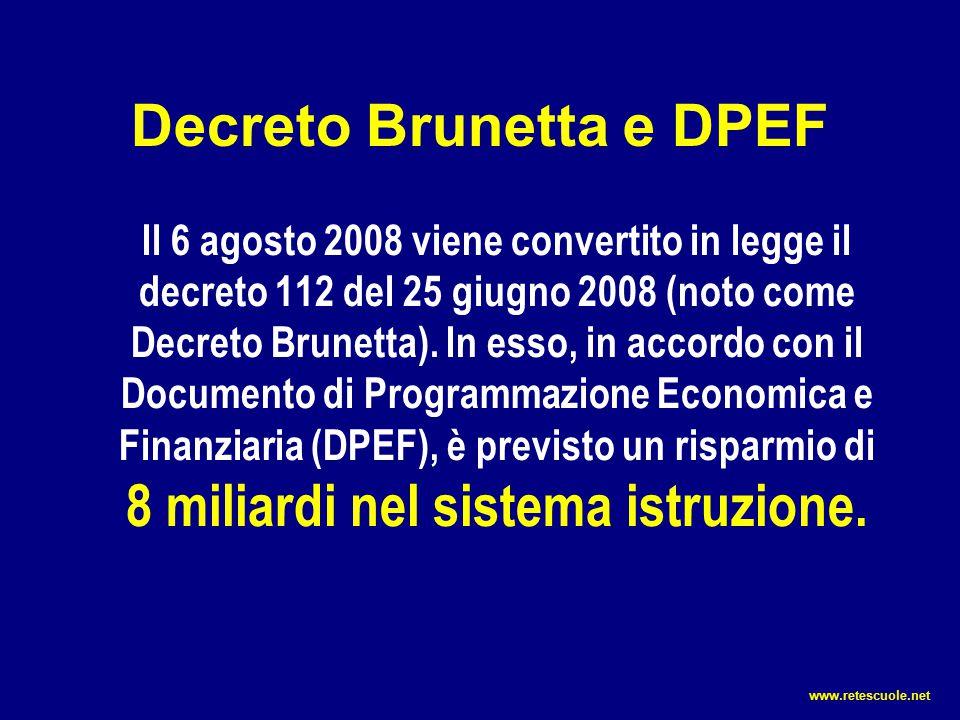 Tutti i dati riportati sono ricavati da documenti ufficiali DPEF – Documento di programmazione economica-finanziaria.