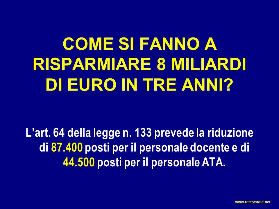 COME SI FANNO A RISPARMIARE 8 MILIARDI DI EURO IN TRE ANNI? L'art. 64 della legge n. 133 prevede la riduzione di 87.400 posti per il personale docente