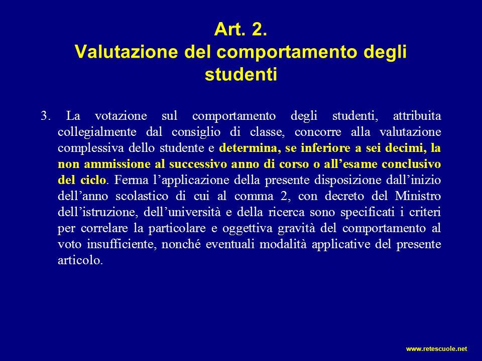 Art. 2. Valutazione del comportamento degli studenti 3. La votazione sul comportamento degli studenti, attribuita collegialmente dal consiglio di clas