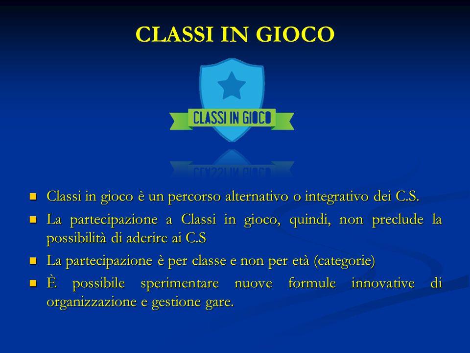 CLASSI IN GIOCO Classi in gioco è un percorso alternativo o integrativo dei C.S.