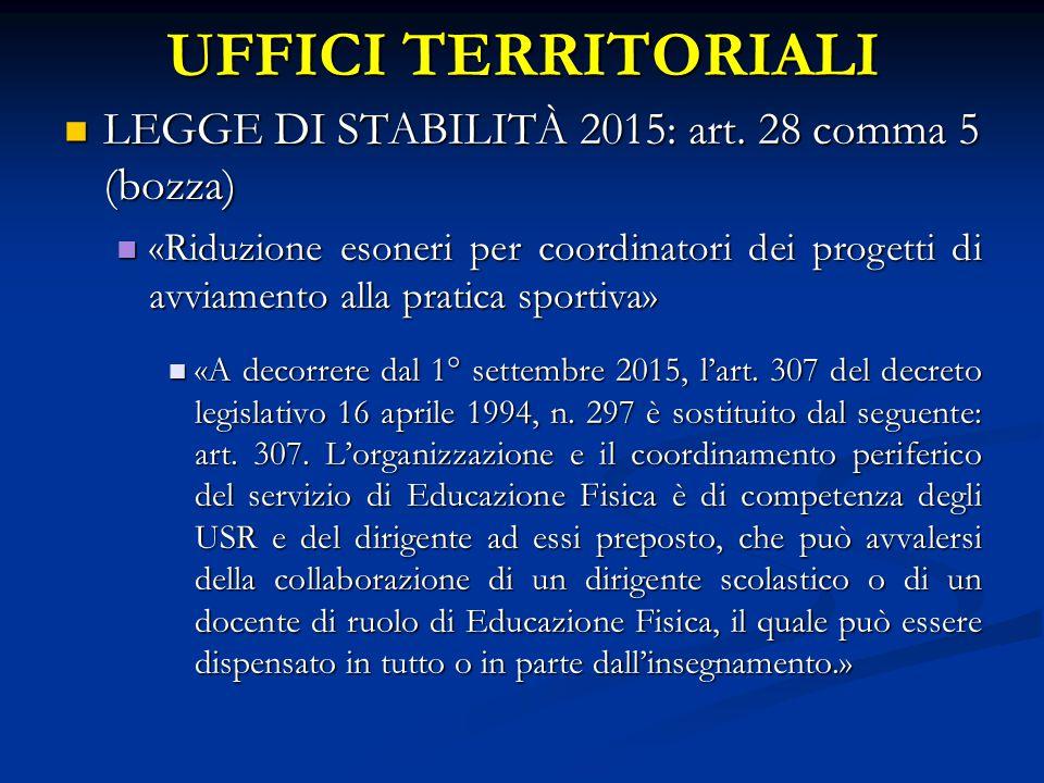 UFFICI TERRITORIALI LEGGE DI STABILITÀ 2015: art. 28 comma 5 (bozza) LEGGE DI STABILITÀ 2015: art.