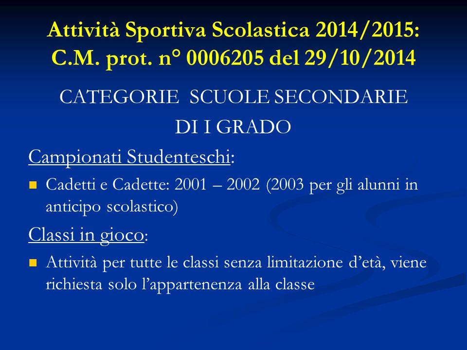 Attività Sportiva Scolastica 2014/2015: C.M. prot.
