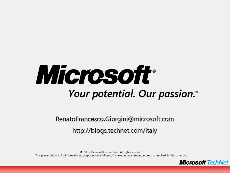 RenatoFrancesco.Giorgini@microsoft.comhttp://blogs.technet.com/italy © 2005 Microsoft Corporation.