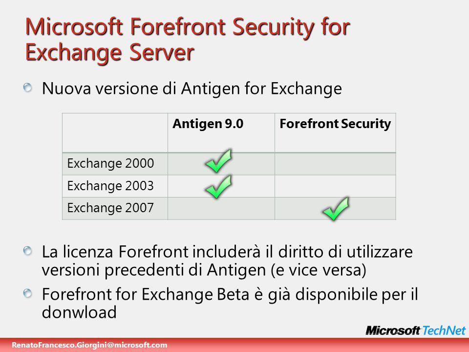 RenatoFrancesco.Giorgini@microsoft.com Microsoft Forefront Security for Exchange Server Nuova versione di Antigen for Exchange La licenza Forefront includerà il diritto di utilizzare versioni precedenti di Antigen (e vice versa) Forefront for Exchange Beta è già disponibile per il donwload Antigen 9.0Forefront Security Exchange 2000 Exchange 2003 Exchange 2007