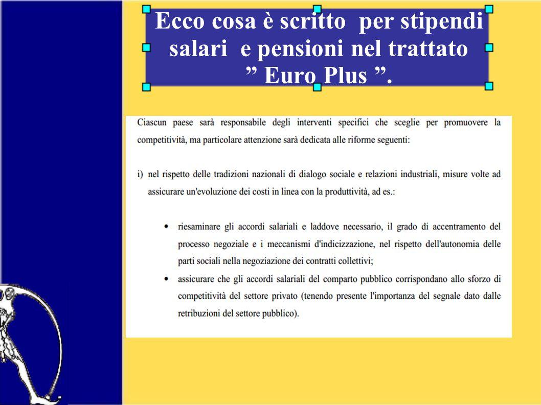 Ecco cosa è scritto per stipendi salari e pensioni nel trattato Euro Plus .