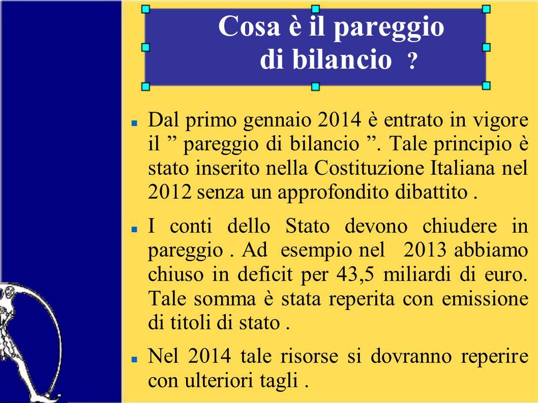Dal primo gennaio 2014 è entrato in vigore il pareggio di bilancio .