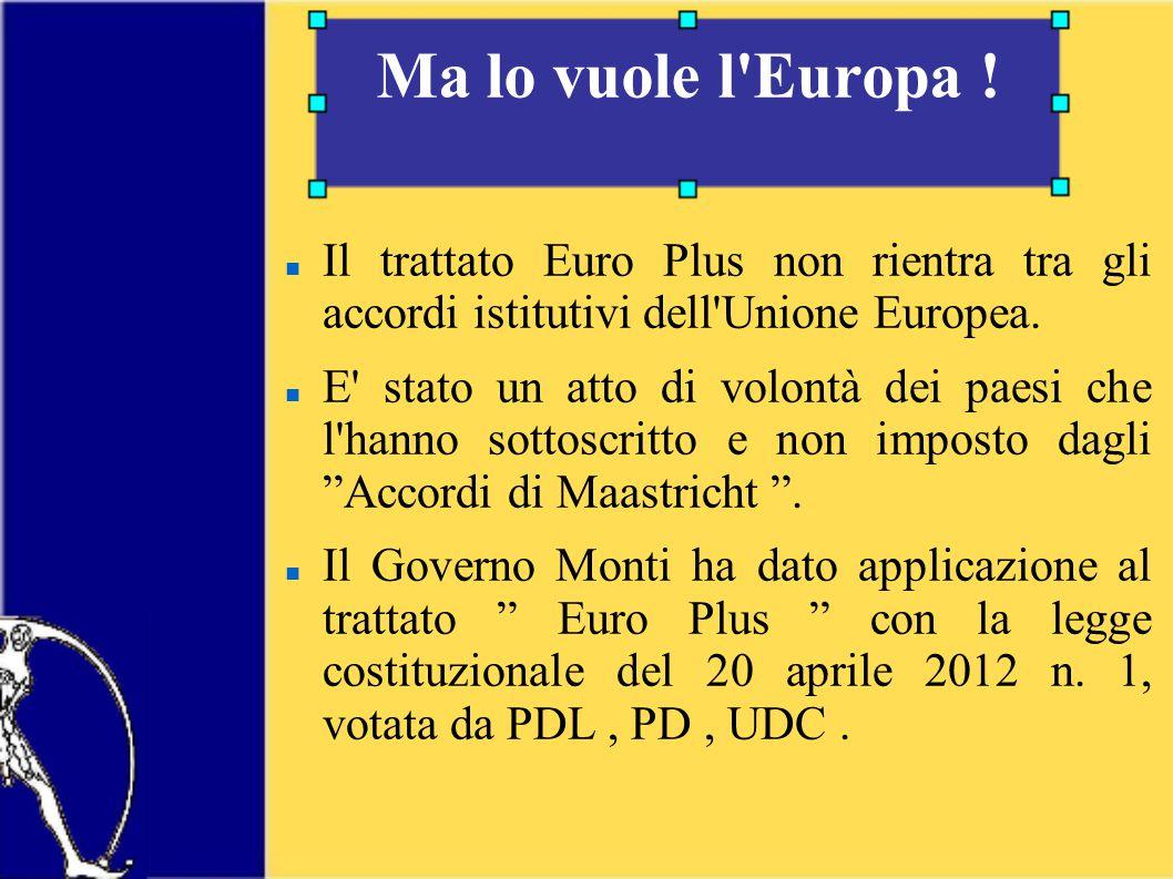 Il trattato Euro Plus non rientra tra gli accordi istitutivi dell Unione Europea.
