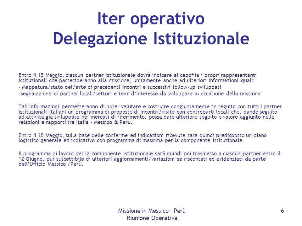 Missione in Messico - Perù Riunione Operativa 6 Iter operativo Delegazione Istituzionale Entro il 15 Maggio, ciascun partner istituzionale dovrà indic
