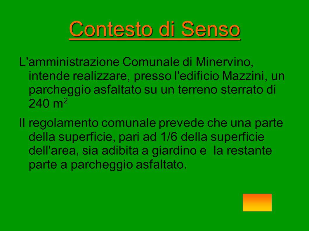 Contesto di Senso L'amministrazione Comunale di Minervino, intende realizzare, presso l'edificio Mazzini, un parcheggio asfaltato su un terreno sterra