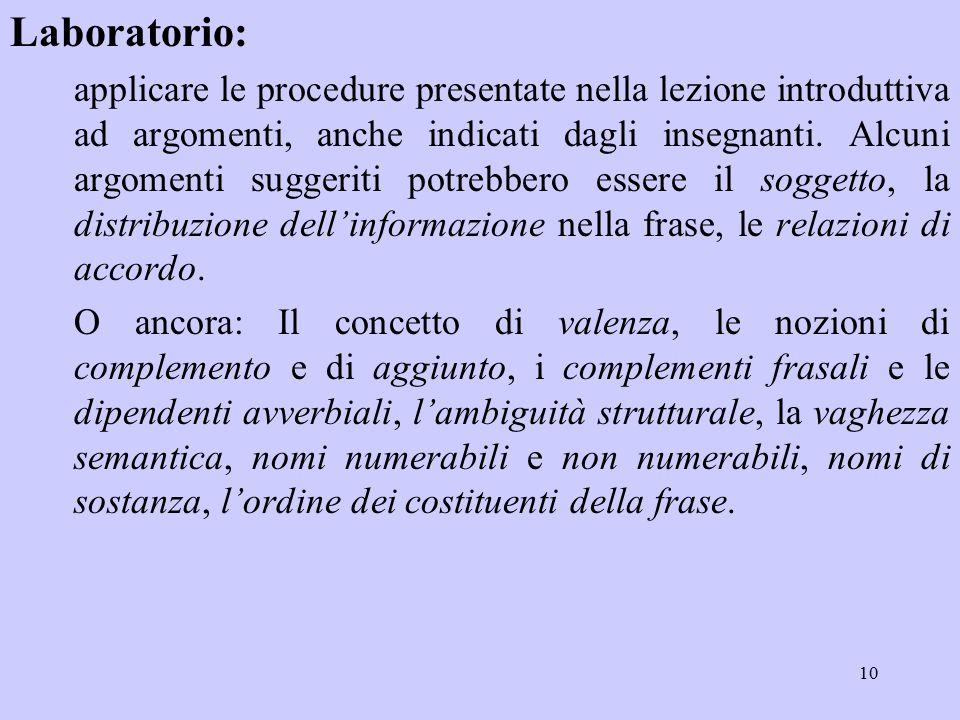 10 Laboratorio: applicare le procedure presentate nella lezione introduttiva ad argomenti, anche indicati dagli insegnanti.