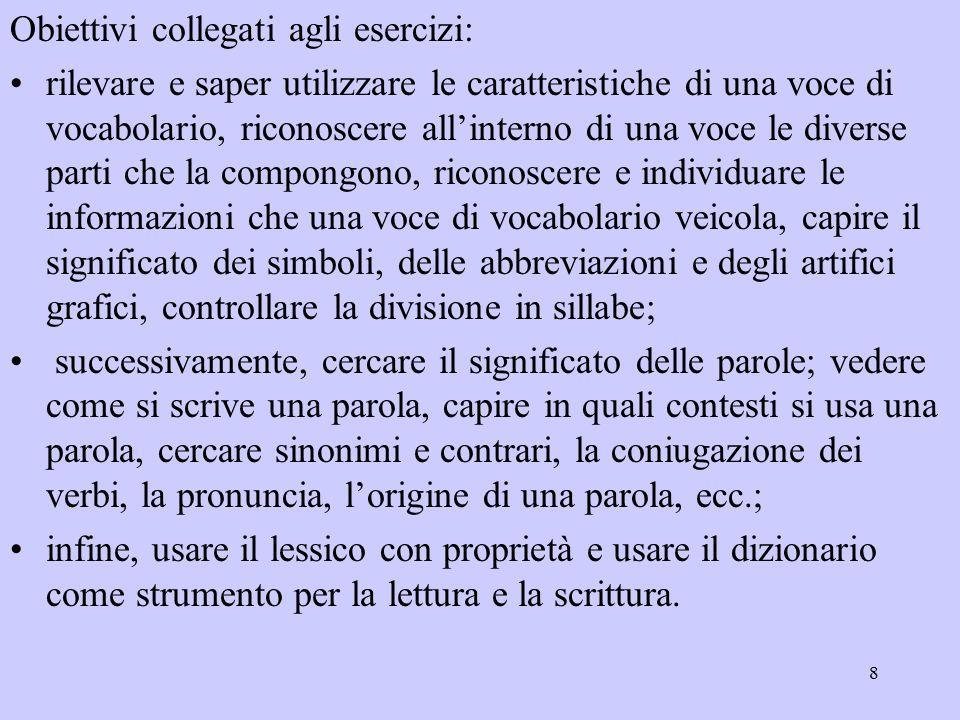 9 Scheda d: spunti di riflessione linguistica.