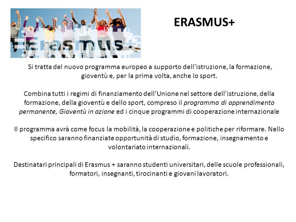 ERASMUS+ Si tratta del nuovo programma europeo a supporto dell'istruzione, la formazione, gioventù e, per la prima volta, anche lo sport. Combina tutt