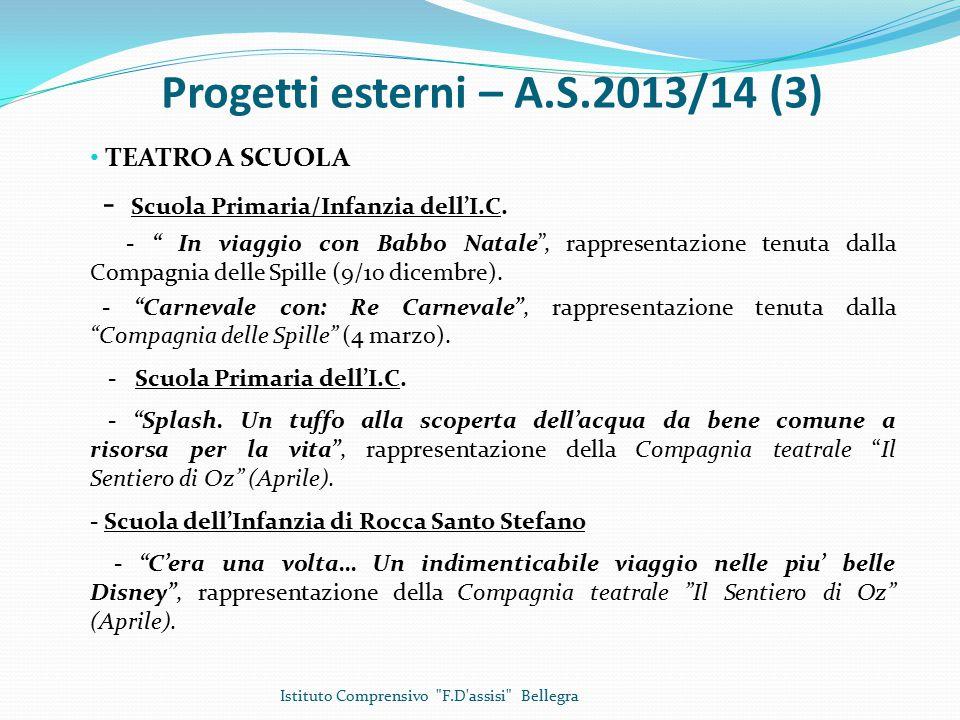 Progetti esterni – A.S.2013/14 (3) TEATRO A SCUOLA - Scuola Primaria/Infanzia dell'I.C.