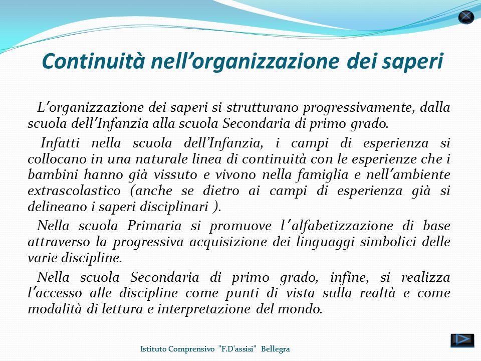 Continuità nell'organizzazione dei saperi L'organizzazione dei saperi si strutturano progressivamente, dalla scuola dell'Infanzia alla scuola Secondaria di primo grado.