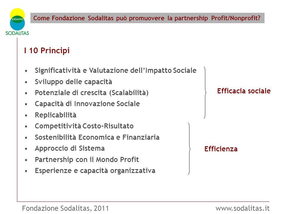 Fondazione Sodalitas, 2011 www.sodalitas.it Come Fondazione Sodalitas può promuovere la partnership Profit/Nonprofit? I 10 Principi Significatività e