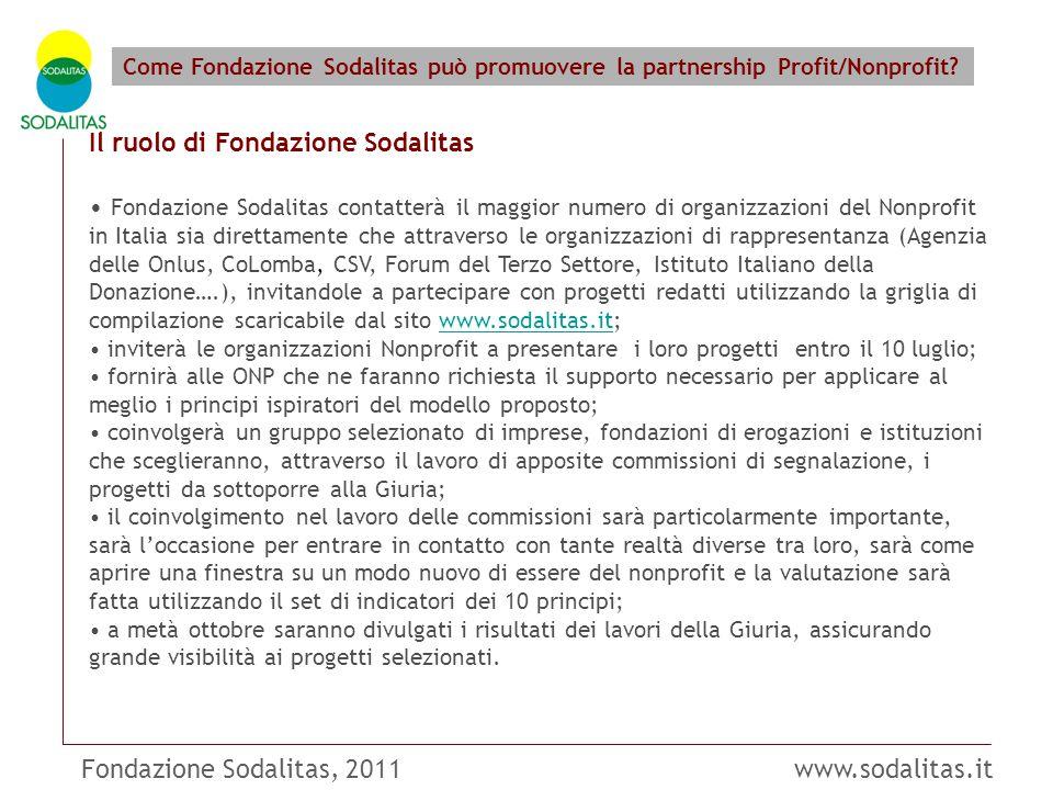 Fondazione Sodalitas, 2011 www.sodalitas.it Come Fondazione Sodalitas può promuovere la partnership Profit/Nonprofit? Il ruolo di Fondazione Sodalitas