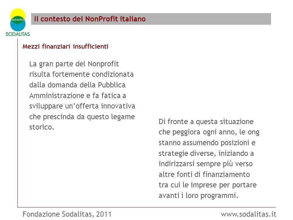 Fondazione Sodalitas, 2011 www.sodalitas.it Il contesto del NonProfit italiano Mezzi finanziari insufficienti Di fronte a questa situazione che peggio