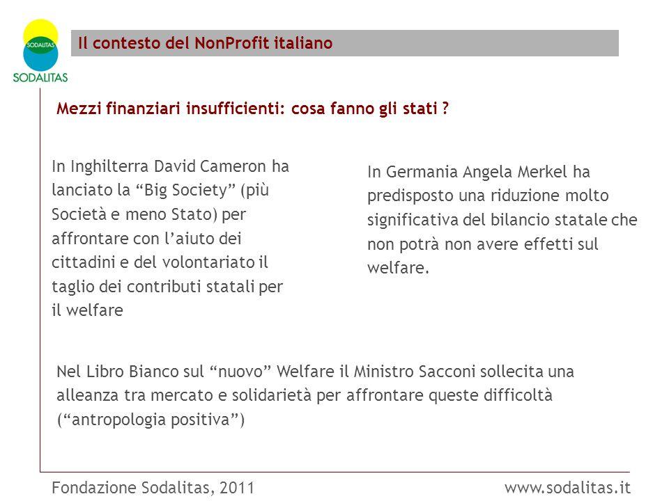 Fondazione Sodalitas, 2011 www.sodalitas.it Il contesto del NonProfit italiano Mezzi finanziari insufficienti: cosa fanno gli stati ? In Inghilterra D