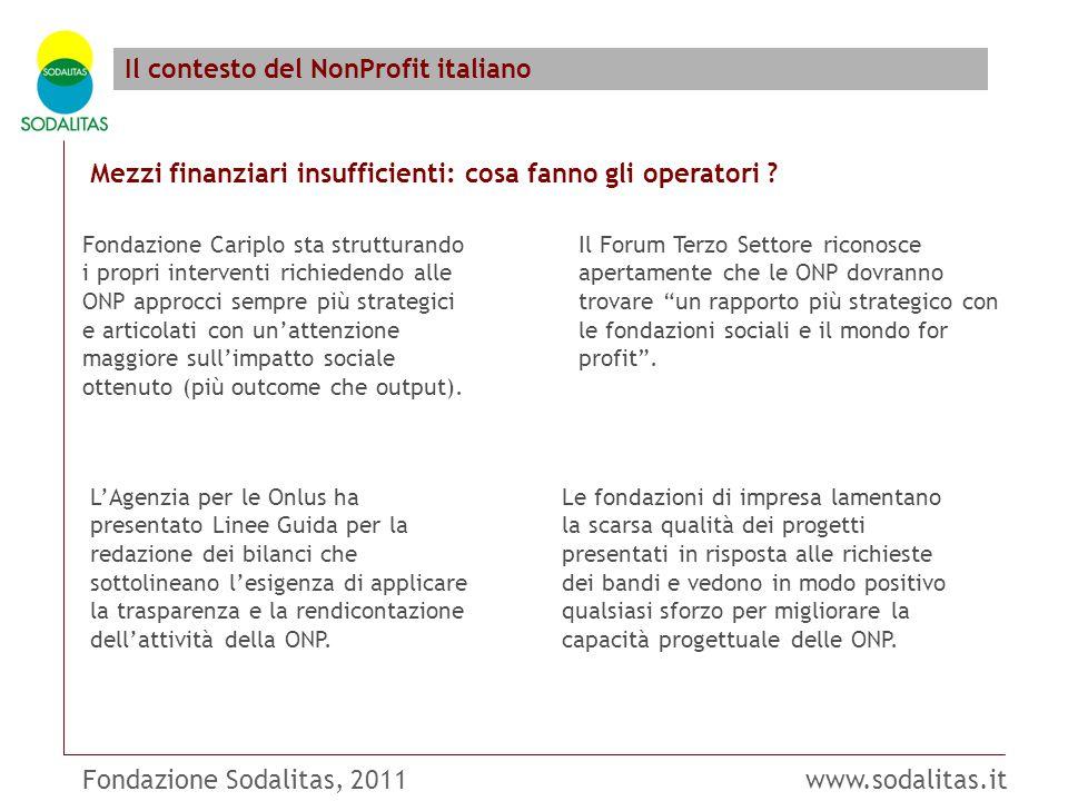Fondazione Sodalitas, 2011 www.sodalitas.it Il contesto del NonProfit italiano Mezzi finanziari insufficienti: cosa fanno gli operatori .