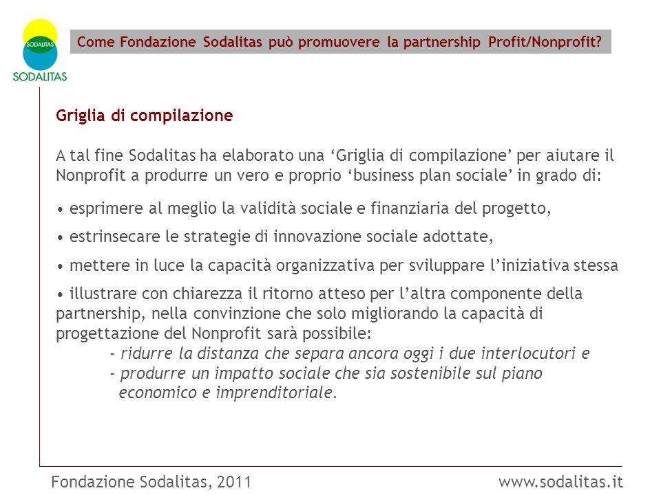 Fondazione Sodalitas, 2011 www.sodalitas.it Come Fondazione Sodalitas può promuovere la partnership Profit/Nonprofit? Griglia di compilazione A tal fi