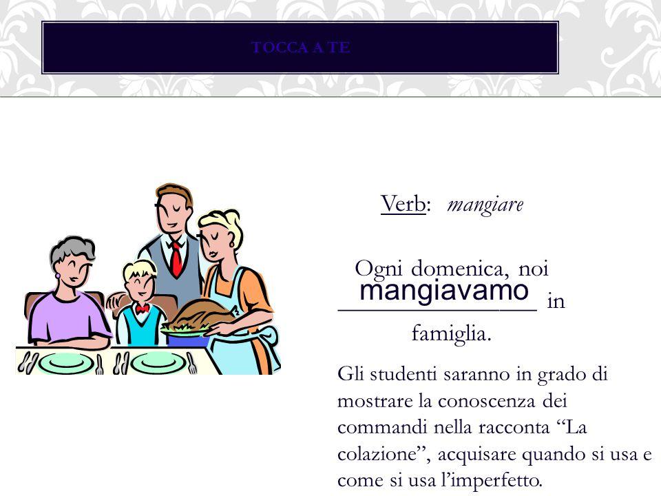 TOCCA A TE Verb: mangiare Ogni domenica, noi ________________ in famiglia. mangiavamo Gli studenti saranno in grado di mostrare la conoscenza dei comm