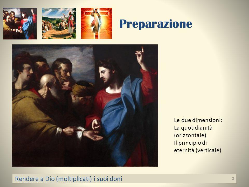 Preparazione Rendere a Dio (moltiplicati) i suoi doni 2 Le due dimensioni: La quotidianità (orizzontale) Il principio di eternità (verticale)
