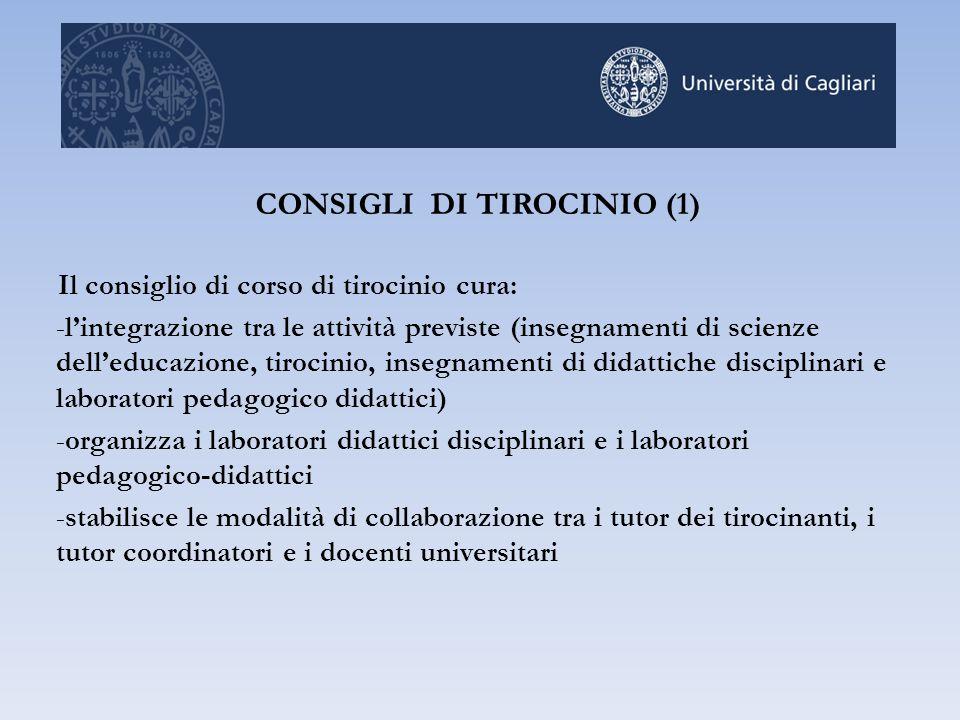 Il consiglio di corso di tirocinio cura: -l'integrazione tra le attività previste (insegnamenti di scienze dell'educazione, tirocinio, insegnamenti di