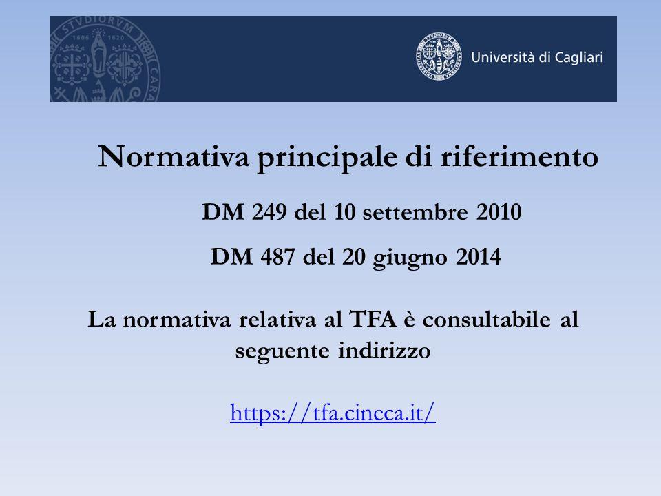 La normativa relativa al TFA è consultabile al seguente indirizzo https://tfa.cineca.it/ Normativa principale di riferimento DM 249 del 10 settembre 2