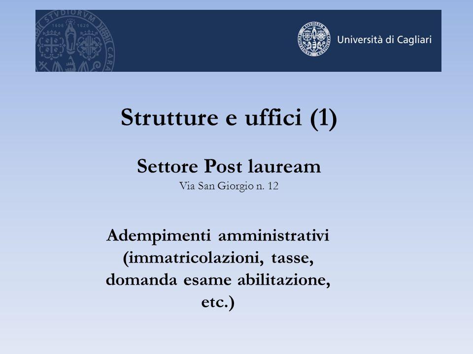Strutture e uffici (1) Settore Post lauream Via San Giorgio n. 12 Adempimenti amministrativi (immatricolazioni, tasse, domanda esame abilitazione, etc