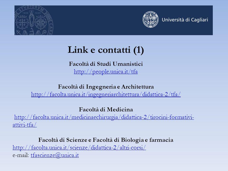 Link e contatti (1) Facoltà di Studi Umanistici http://people.unica.it/tfa Facoltà di Ingegneria e Architettura http://facolta.unica.it/ingegneriarchi