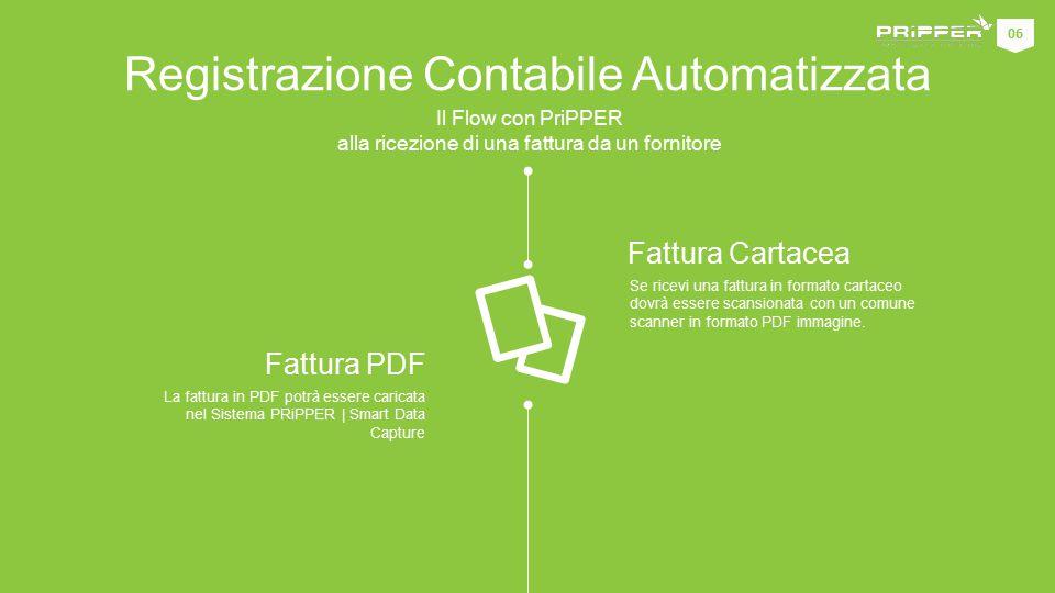 Registrazione Contabile Automatizzata Il Flow con PriPPER alla ricezione di una fattura da un fornitore Se ricevi una fattura in formato cartaceo dovrà essere scansionata con un comune scanner in formato PDF immagine.
