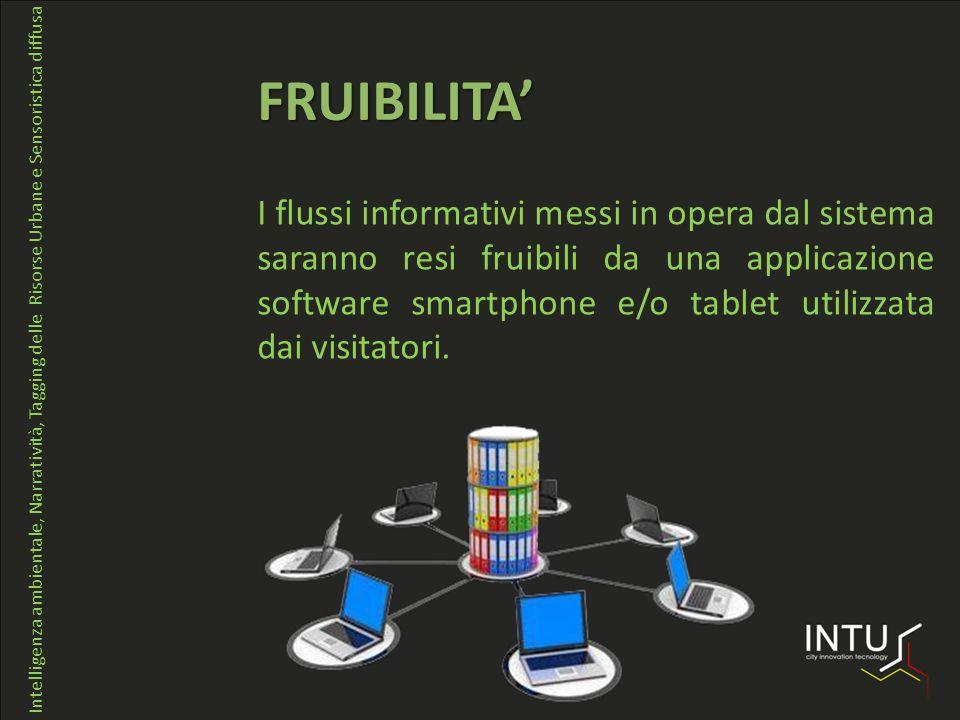 I flussi informativi messi in opera dal sistema saranno resi fruibili da una applicazione software smartphone e/o tablet utilizzata dai visitatori.