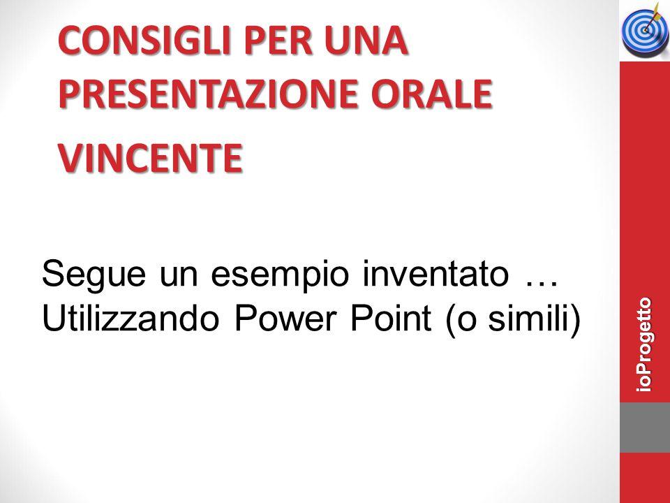 CONSIGLI PER UNA PRESENTAZIONE ORALE VINCENTE Segue un esempio inventato … Utilizzando Power Point (o simili) ioProgetto