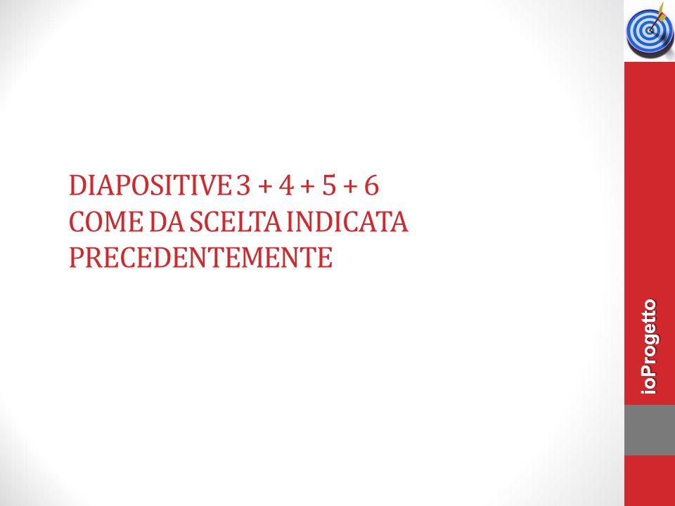 DIAPOSITIVE 3 + 4 + 5 + 6 COME DA SCELTA INDICATA PRECEDENTEMENTE ioProgetto