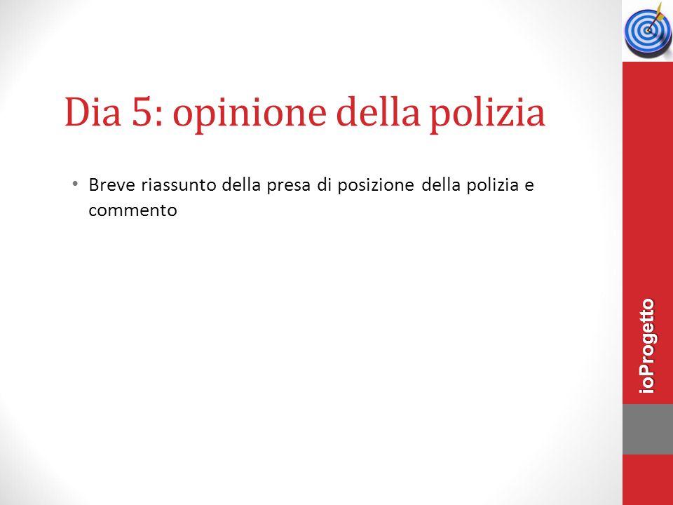 Dia 5: opinione della polizia Breve riassunto della presa di posizione della polizia e commento ioProgetto