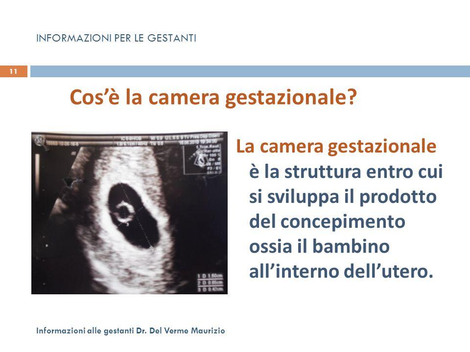La camera gestazionale è la struttura entro cui si sviluppa il prodotto del concepimento ossia il bambino all'interno dell'utero. 11 Informazioni alle