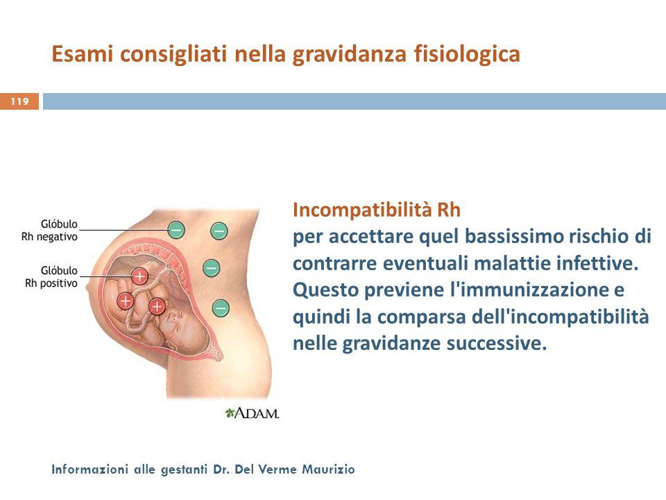 119 Informazioni alle gestanti Dr. Del Verme Maurizio Incompatibilità Rh per accettare quel bassissimo rischio di contrarre eventuali malattie infetti